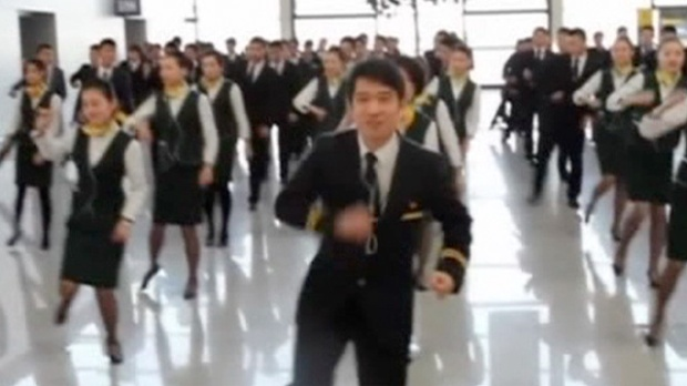 Flight attendants dance